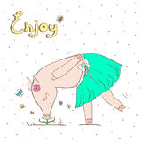 Debonair pig. Vector illustration. Royalty Free Stock Photo