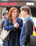 Debra Messing and Christian Borle. Filming of the TV show smash in Times Square in NY Royalty Free Stock Photo
