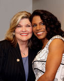 Debra Monk and Audra McDonald. Singer-actresses Debra Monk and Audra McDonald whine at Meet the Nominees gathering in mid-town Manhattan.  Both had been Stock Image