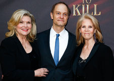 Debra Monk, David Hyde Pierce, Daryl Roth Royalty-vrije Stock Foto's