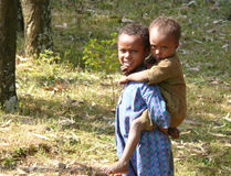 DEBRE MARKOS, ETHIOPIA - NOVEMBER 24, 2008: Two strangers Ethiop Royalty Free Stock Photos