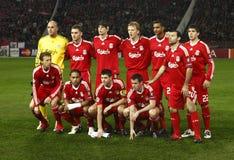 Debrecen contre l'allumette de l'UEFA Champions League de Liverpool Images libres de droits
