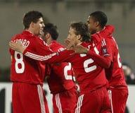 Debrecen contre l'allumette de l'UEFA Champions League de Liverpool Photographie stock libre de droits