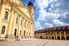 Debrecen, de mening van Hongarije van het stadscentrum, centrale vierkant en CH stock afbeelding