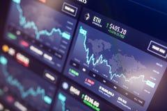 06.17.2017 - Debrecen, Hungary: Abstract data chart analyzing in exchange stock market. Analytics pair BTC-USD