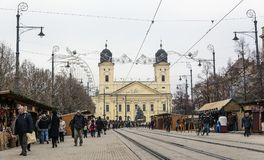 Reformed Great Church in Debrecen city, Hungary. Stock Images