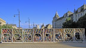 Letters assembling the name of city Debrecen in square Kossuth Stock Photo