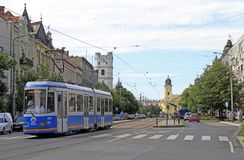 Tram on Market Street in Debrecen city, Hungary Royalty Free Stock Images
