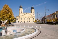 Debrecen, Hungary. Main square with yellow church in Debrecen, Hungary Stock Photos