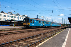 DEBRECEN, HUNGARY, MAY 12, 2014. City landscape view of train station of Debrecen, Hungary with railways going in to horizon and a Royalty Free Stock Image