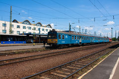 DEBRECEN, HUNGARY, MAY 12, 2016. City landscape view of train station of Debrecen, Hungary with railways going in to horizon and a Stock Photography