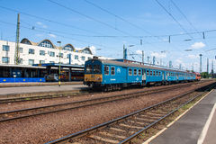 DEBRECEN, HUNGARY, MAY 12, 2016. City landscape view of train station of Debrecen, Hungary with railways going in to horizon and a Royalty Free Stock Photo