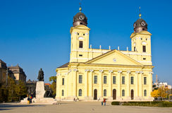 DEBRECEN, HUNGARY - OCTOBER 31, 2015: Kossuth square with Protestant Great Church on the background in Debrecen city Stock Photos