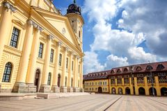Debrecen, Hungary view of the city center, central square and ch stock image