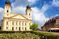Debrecen, Hungary view of the city center, central square and ch royalty free stock photos