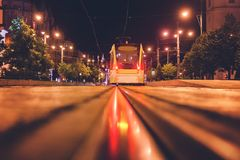 Debrecen, Hungary view of the city center, at night, with reflection of tram tracks, beautiful city landscape stock photos