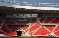 DEBRECEN, HUNGRIA - NOBEMBER 1, 2015: Nagyerdei Stadion É o estádio home do ` de Debrecen do ` de FC Abra o 1º de maio de 2014 Ca Imagem de Stock