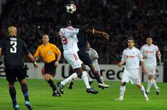 Debrecen - Lyon UEFA Champions League match Royalty Free Stock Photography