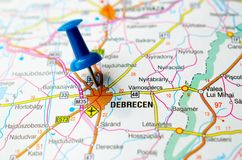 Debrecen on map. With push pin Royalty Free Stock Photo