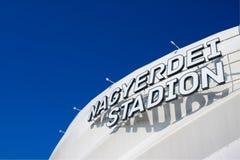 DEBRECEN, UNGHERIA - NOBEMBER 1, 2015: Nagyerdei Stadion È lo stadio domestico di FC Debrecen Apra il 1° maggio 2014 Fotografie Stock Libere da Diritti