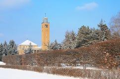 Debrecen University Library in winter. Mood stock photo