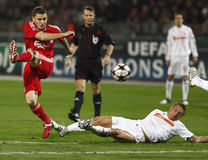 Debrecen versus de gelijke van UEFA Champions League van Liverpool royalty-vrije stock afbeeldingen