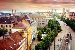 Debrecen, Węgry, widok miasto z wierzchu Reformowanego Fotografia Royalty Free