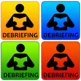 Debriefing. Colorful icons about business or meeting debriefing Stock Images