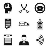 Debriefing icons set, simple style. Debriefing icons set. Simple set of 9 debriefing vector icons for web isolated on white background Royalty Free Stock Photos