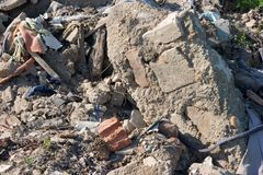 Debris. A pile of debris of a destroyed building Royalty Free Stock Image