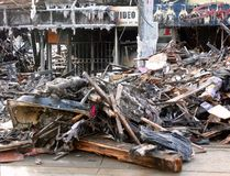 Debris. In front of one of the four buildings in the aftermath of a six-alarm fire on Queen St. West on February 20, 2008 in Toronto- Canada, that destroyed 6 Royalty Free Stock Images