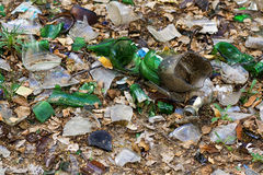 Debris from the broken glass on the gro Stock Image