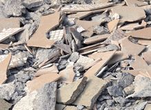 Debris at destroyed construction site Royalty Free Stock Images