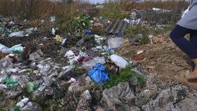 Debris dump wayside in the forest.  stock video