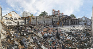 Debris After Fire. Scattered Debris After Fire in Garment Factory Royalty Free Stock Photography