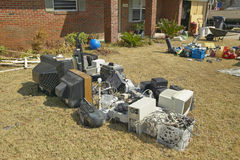 Debris in front of house Royalty Free Stock Photography
