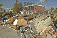 Debris in front of house heavily hit Stock Image