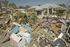 Debris in front of house heavily hit Stock Images