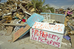 Debris in front of house heavily hit by Hurricane Stock Images