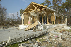 Debris in front of house heavily hit by Hurricane Ivan in Pensacola Florida Stock Images