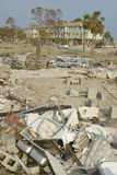 Debris in front of houses heavily hit by Hurricane Stock Images