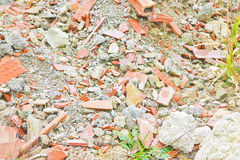 Debris heap after the demolition of a brick building Stock Photos