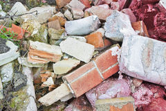 Debris heap after the demolition of a brick building.  Royalty Free Stock Image