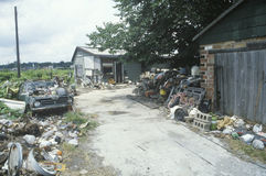 Debris and litter filled yard Stock Photos