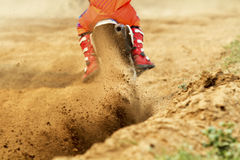 Debris from a motocross race. In track Stock Photo