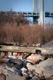 Debris near bridge Royalty Free Stock Photo