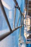 Debris netting on scaffolding Stock Photos