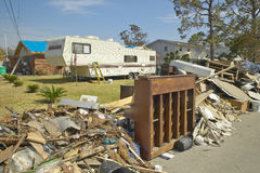 Debris and old piano in front of house heavily hit by Hurricane Ivan in Pensacola Florida Stock Photography