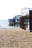 Debris of the old west pier in Brighton. England Royalty Free Stock Images