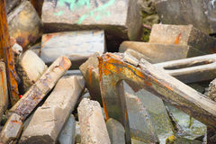 Debris and rubble of collapsed building Royalty Free Stock Photography
